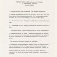 Class Rules for History 200-01 & 02-Introduction to Civil Rights